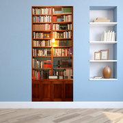 200X77CM 3D Retro Bookcase PVC Auto-adesivo Porta Wall Sticker Living Room Mural Decor
