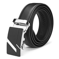 Gold Silver Alloy Adejustable Automatic Frosted Buckle Men's Cowhide Business Belt