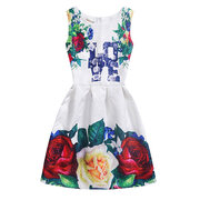 Print Pleated Toddlers Girls Sleeveless O-neck Pageant Party Dress For 8Y-13Y