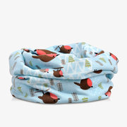 Women Cotton  Breathable Bird Print Beanies Hat Both Hats And Scarf Use