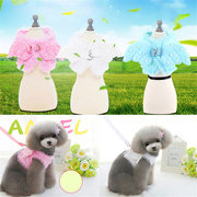 Cute Lace Angel Pearl wings Pet Dog Chest Strap + Rope Collars Set for Small Pet Designer Wing