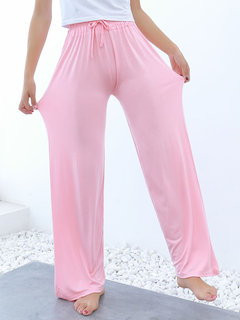 Wide Leg Elastic Waist Solid Color Modal Pants