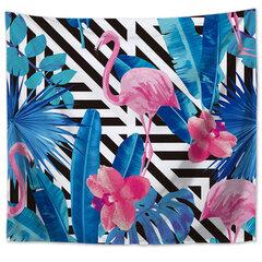 Parede Pendurado Flamingo Impresso Tapestry Room Decor Arte Plantas Tropicais Yoga Mat