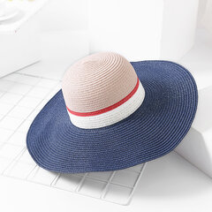Female Folding Elastic Windproof Sunscreen Breathable Summer Travel Beach Straw Caps