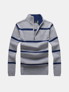 Autumn Winter Casual Striped Half Zip Up Stand Collar Slim Fit Knitted Sweater For Men