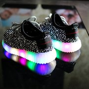 Unisex Kids Mesh LED Light Lace Up Casual Shoes