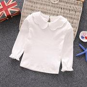 Cor sólida meninas da criança manga longa escola ocasional t-shirt tops para 1y-9y