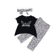 3 pezzi T-Shirt con stampa vestiti per bambina + lunga Pantaloni + fascia per 1Y-7Y