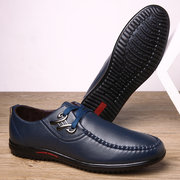 Men Metal Buckle Leather Non-slip Soft Sole Casual Driving Shoes