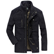 Military Cotton Stand Collar Solid Color Plus Size Coat Jacket for Men