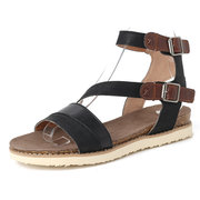 Mulheres Casual Splicing Open Toe Buckle Strap Flat Sandals