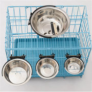 Pet Dog Puppy Acier inoxydable Suspension Food Water Bowl Feeder For Crate Cage Coop