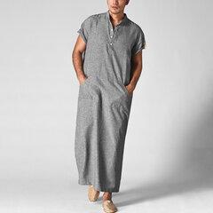 Mens Kaftan Árabe Vintage Longo Solto Robe Vestido Longo Camisas de Manga Curta T