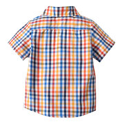 Plaid Toddlers Boys Shirt Kids Short Sleeve Summer Casual Tops For 2Y-11Y