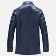 Fashion Pure Color Chest Pocket Blazers Faux Leather Jacket for Men