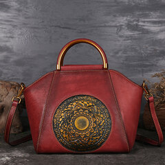 Women Genuine Leather Vintage Totem Designer Handbag Shoulder Bag