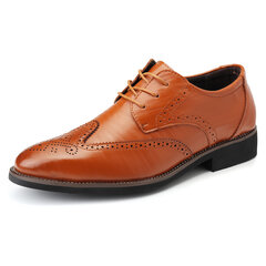 Men Brogue Carved Pointed Toe Lace Up Oxfords Formal Dress Shoes