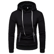 Casual Long Sleeve Drawstring Solid Color Hoodies for Men