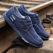 Men Old Beijing Style Canvas Breathable Lace Up Casual Driving Shoes