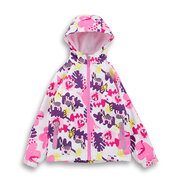 Girls Raincoat Waterproof Floral Print Trench Coat For 4Y-13Y