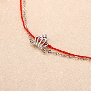 Luxury 925 Sterling Silver Red Rope Lucky Charm Bracelets Zirconia Crown Rose Gold Chain Bracelets