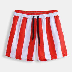 Men Stripe Contrast Color Board Shorts Quick Dry Colorful Mesh Liner Casual Swim Shorts