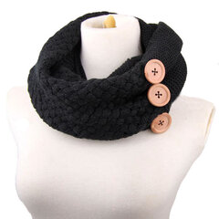 Womens Knitted Thick Multifunctional Multicolor Scarf Outdoor Fashion Warm Neck Button Scarves