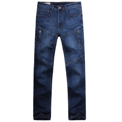 Casual Fashion Thin Loose Straight Leg Multi-Pockets Plus Size Elastic Jean For Men