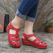 LOSTISY Metal Hook Loop Adjustable Casual Comfort Fisherman Sandals