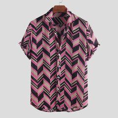 Camisas informales de manga corta con cuello vuelto impresas en Chevron étnicas para hombre