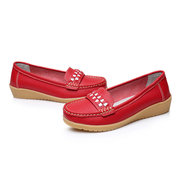 Pattern Color Blocking Soft Leather Casual Flat Shoes For Women