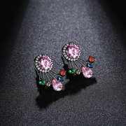 Luxury Zircon Stud Earrings Shiny Colorful Drop Crystal Charming Ear Jacket Earrings for Women