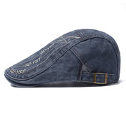 Men's Casual Beret Cap Spring And Summer Breathable Cotton Cap Adjustable Embroidery Cap