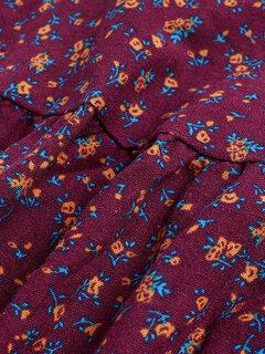 Vintage Floral Printed Patchwork V-Neck Shirt For Women