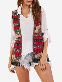 Vintage Sleeveless Ethnic Print Tassel Plus Size Jacket