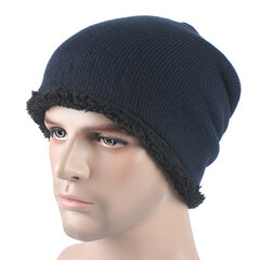 Herren Winter Plus Samt Warm Stripe Beanie Cap Lässig Solide Skullies Beanie Hat
