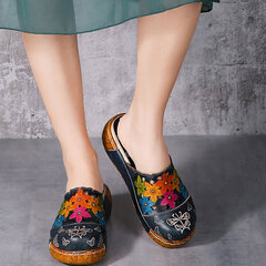 Socofy Original Leather Butterfly Print Silppers Flower Platform Retro Sandals