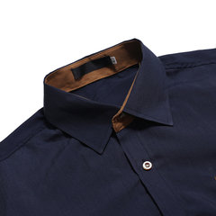 Business Cotton Turn Down Collar Patchwork Chest Pocket Long Sleeve Casual Shirt for Men