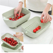 Plastic Double-layer Drain Basket Sink Multifunctional Tray Storage Basket