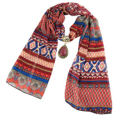 Ethnic Scarf Necklace Multicolor Drop Pendant Statement Necklace for Women Accessories Jewelry
