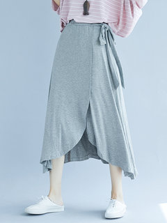 Solid Color Tie Waist Splited Casual Skirts