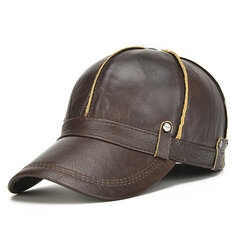Men Genuine Leather Cowhide Baseball Cap With Ears Flaps Thick Winter Warm Flat Hats Army Hats