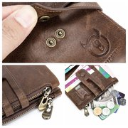 Bullcaptain RFID Antimagnetic Vintage Genuine Leather 14 Card Slots Coin Bag Wallet
