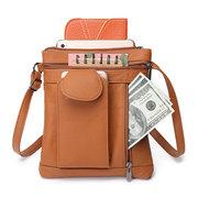 Women Multifunction Genuine Leather Crossbody Bag Solid Phone Bag