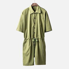 Mens Casual Vintage Drawstring Waist Short Sleeve Workwear Solid Color Jumpsuit