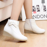 Bowknot Wedges Leather White Boots