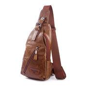 Genuine Leather Shoulder Bag Solid Crossbody Bag Contracted Chest Bag For Men