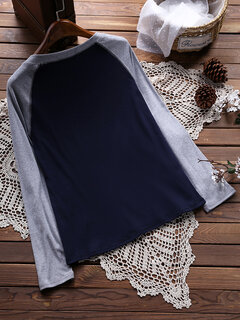 Casual Long Sleeve Patchwork Color Blouses