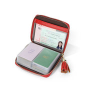 Women Leisure Large Capacity 40 Card Slot Card Holder Tassel Faux Leather Wallet