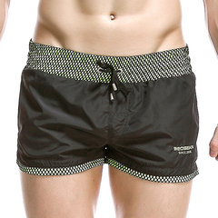 Men Beach Quick Dry Swim Short Breathable Loose Patchwork Swim Trunks Beach Shorts with Embroidered